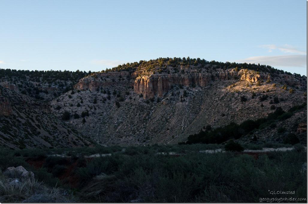 Last light on canyon walls Snake Gulch Kaibab National Forest Arizona