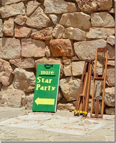 Sign Lodge veranda Star Party North Rim Grand Canyon National Park Arizona