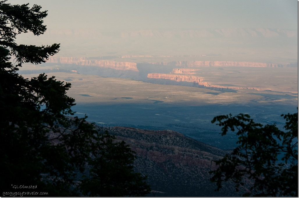 Last light Marble Plateau & Canyon from camp Kaibab National Forest Arizona