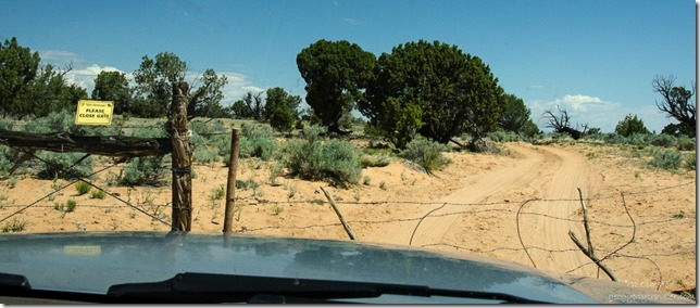 Closed gate Vermilion Cliffs National Monument Arizona
