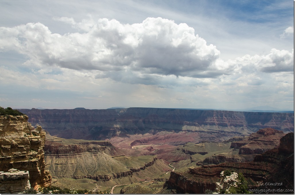 Storm clouds over South Rim from Walhalla overlook North Rim Grand Canyon National Park Arizona