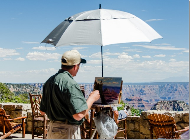 AIR John Cogan painting on Lodge veranda North Rim Grand Canyon National Park Arizona