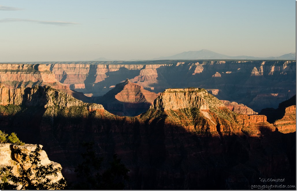 Last light on temples from Lodge North Rim Grand Canyon National Park Arizona