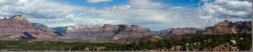 Looking at Zion National Park, Parunuweap Canyon, Canaan Mountains & Eagle Crags from Smithsonian Butte Byway Utah