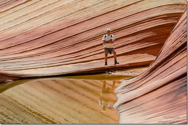 Bill by pool below The Wave Paria Canyon-Vermilion Cliffs Wilderness Arizona