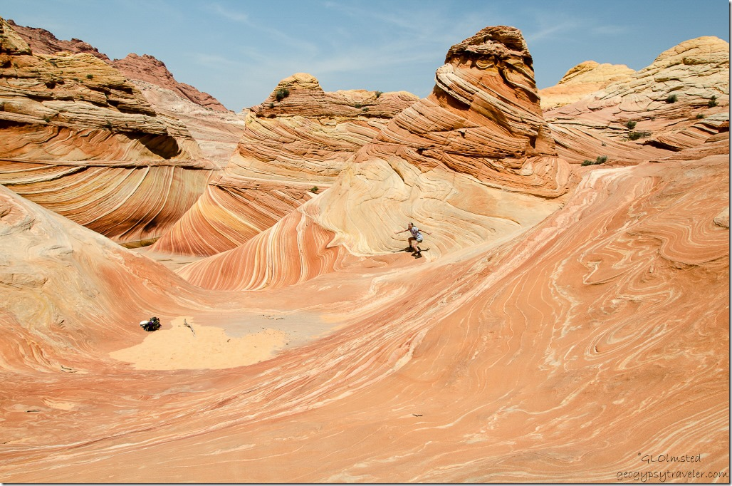 Gaelyn above The Wave Paria Canyon-Vermilion Cliffs Wilderness Arizona