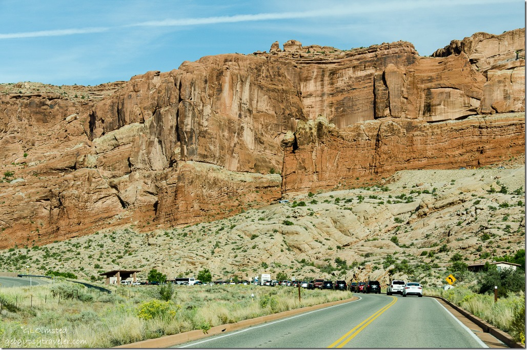 Waiting line at entrance station Arches National Park Utah
