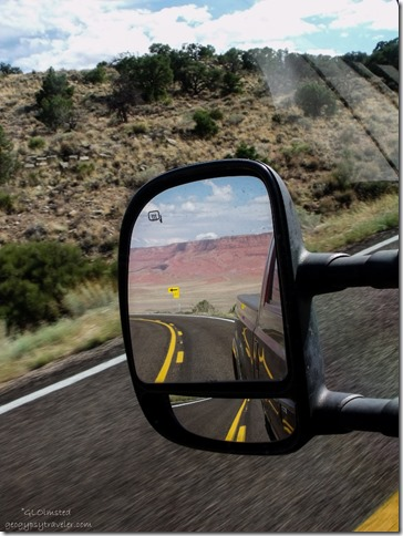 Side mirror view of Vermilion Cliffs from SR89A west Kaibab National Forest Arizona