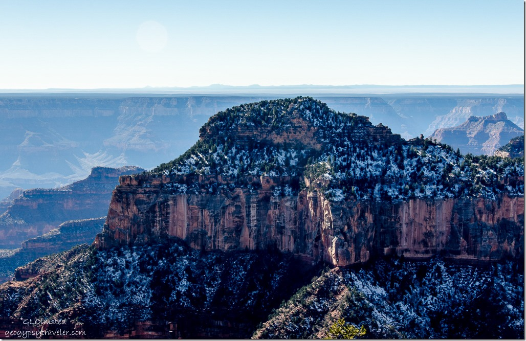 Snow on Oza Butte from Lodge North Rim Grand Canyon National Park Arizona