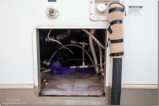 Hole for hot water tank 5th-wheel Crazy Horse RV Park Kanab Utah