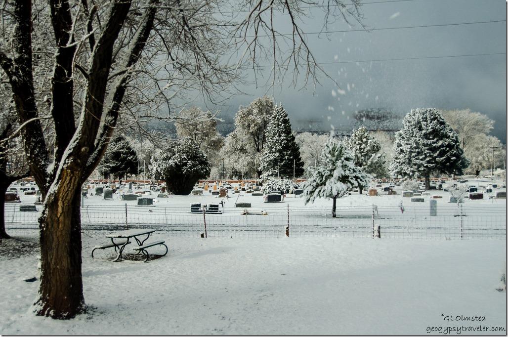 Snowy morning from RV Crazy Horse RV park Kanab Utah