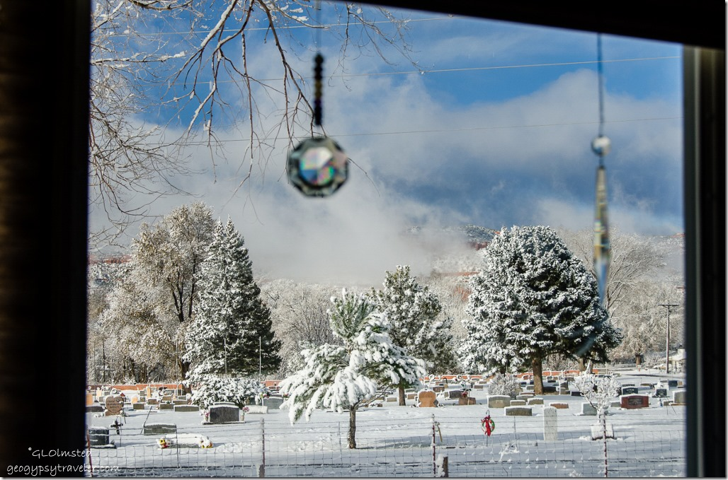 Snowy view with crystals from RV Crazy Horse RV park Kanab Utah