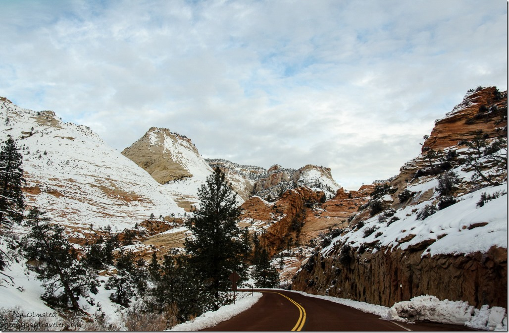 Snowy Zion National Park SR9 west Utah