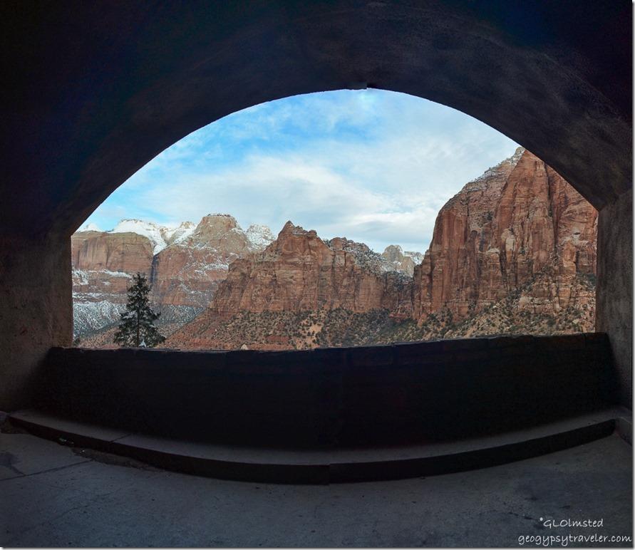 Tunnel window view Zion National Park SR9 west Utah