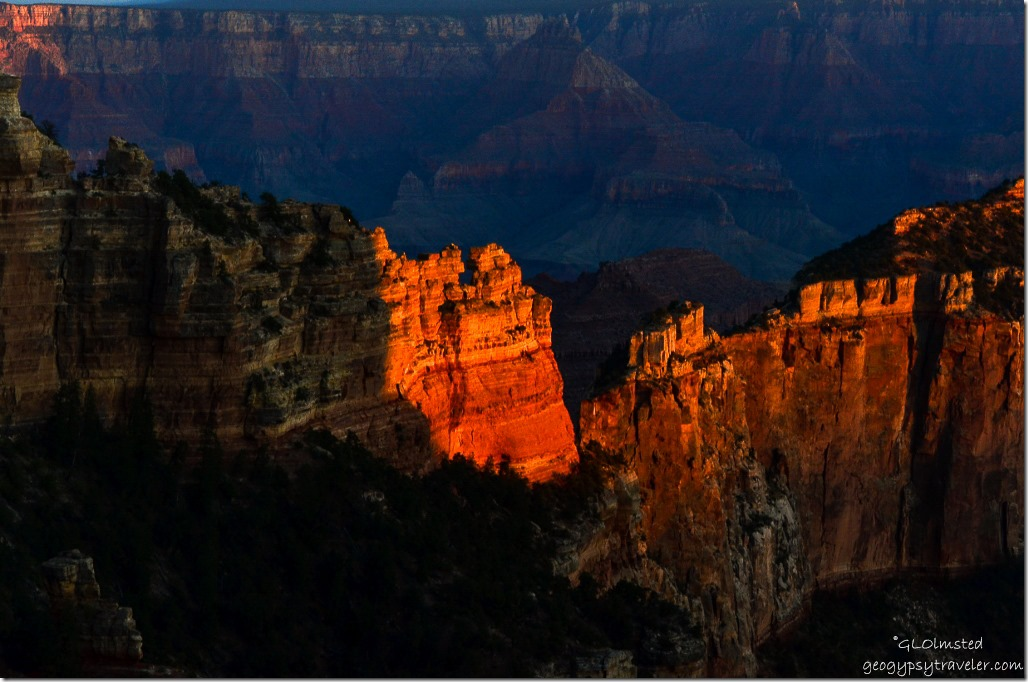 Last light on Wotans Throne from Wedding site Cape Royal North Rim Grand Canyon National Park Arizina