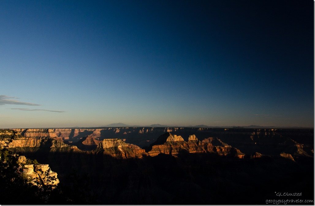 Sunset over canyon from Grand Lodge North Rim Grand Canyon National Park Arizona
