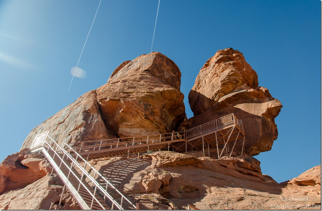Stairs to Atlatl Rock Valley of Fire State Park Nevada