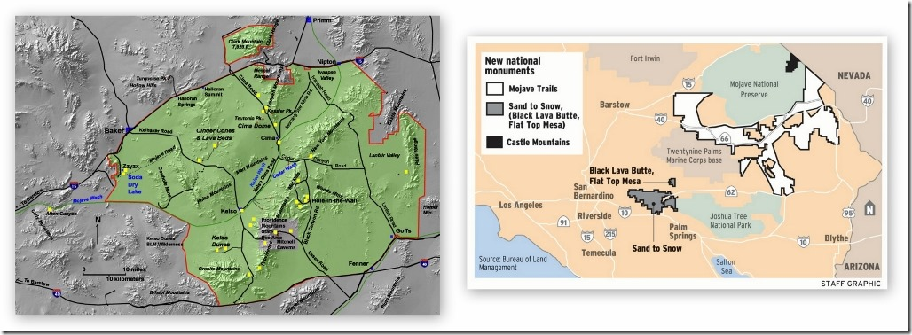 Maps Mojave National Preserve & new National Monuments California