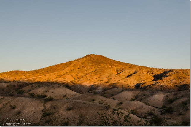 Last light on hill Callville campground Lake Mead National Recreation Area Nevada