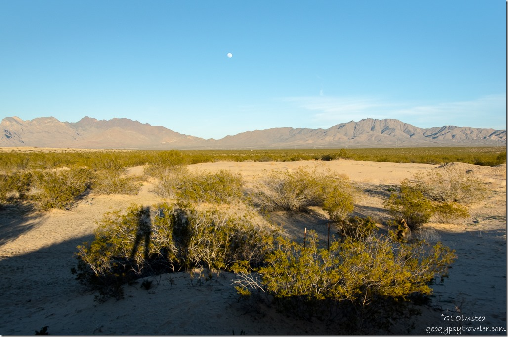 Moon over Providence Mountains Kelso Dunes Mojave National Preserve California