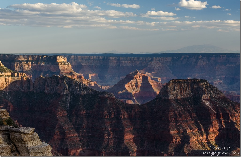 Last light on Angels Gate from Lodge North Rim Grand Canyon National Park Arizona