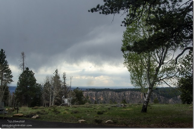 Stormy clouds from RV North Rim Grand Canyon National Park Arizona