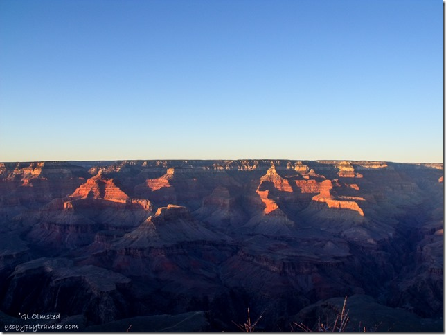 Last light on North Rim & temples from Yavapai Point South Rim Grand Canyon National Park Arizona