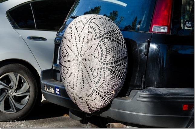 Crochet tire cover North Rim Grand Canyon National Park Arizona