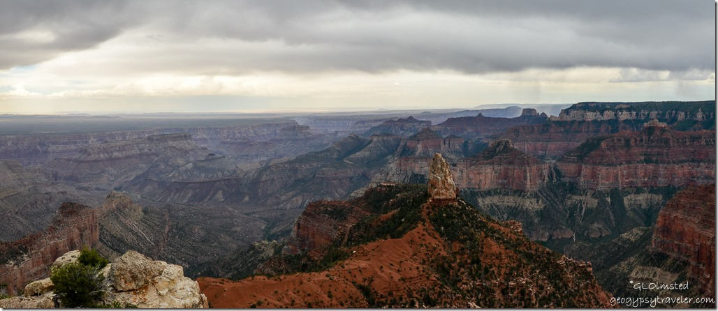 Stormy view South Mountain Hayden & beyond Point Imperial North Rim Grand Canyon National Park Arizona