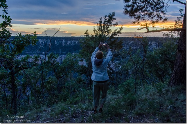 Diane takes photo sunset Transept trail North Rim Grand Canyon National Park Arizona