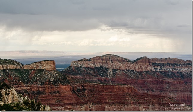 Light & stormy view East Saddle Mountain Point Imperial North Rim Grand Canyon National Park Arizona