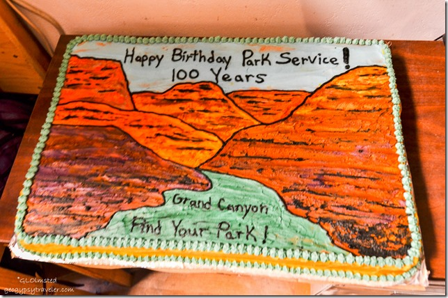 National Park Service 100 birthday cake Visitor Center office North Rim Grand Canyon National Park Arizona