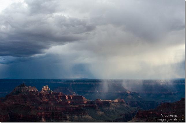 Storm crossing canyon from Lodge North Rim Grand Canyon National Park Arizona