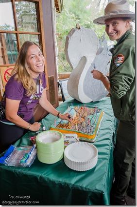 Ranger Rachel & Mandi National Park Service 100 birthday cake Visitor Center porch North Rim Grand Canyon National Park Arizona