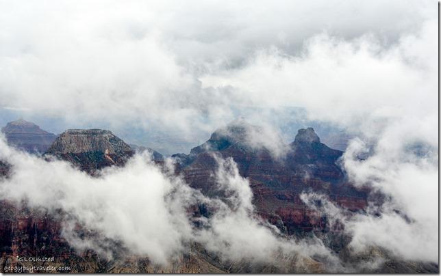 Clouds drift thru canyon from Lodge North Rim Grand Canyon National Park Arizona