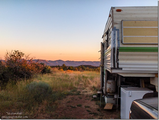 Sunset over Mesa Verde National Park RV home at Jo's Summit Colorado