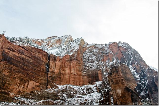 Snow Virgin River Canyon Road Zion National Park Utah