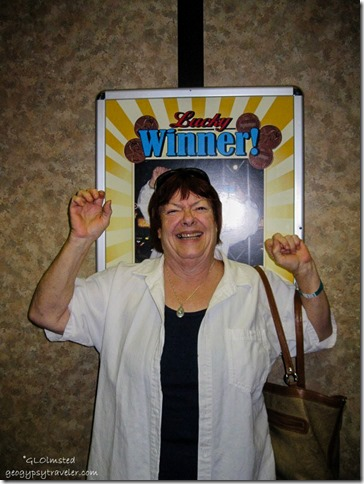 Berta The Winner in elevator Colorado Belle Laughlin Nevada