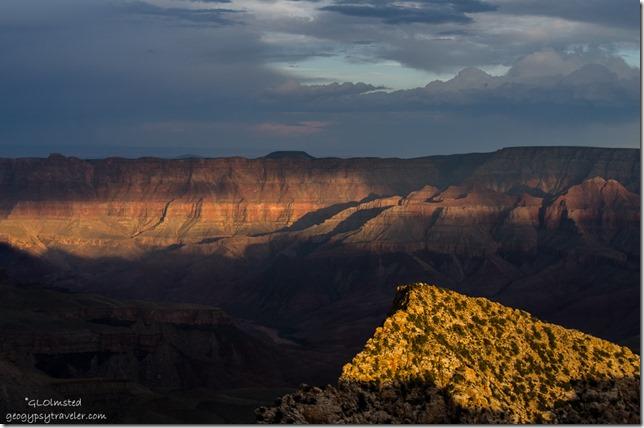 Last light Freyas Castle & canyon wall from Cape Royal North Rim Grand Canyon National Park Arizona