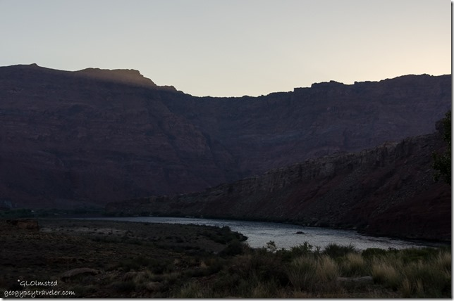 First light Paria Plateau over Colorado River from Lee's Ferry campground Glen Canyon National Recreation Area Arizona