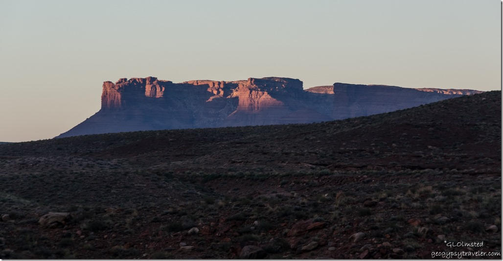 First light on Vermilion Cliffs from Lee's Ferry campground Glen Canyon National Recreation Area Arizona