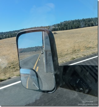 Bill's truck in side mirror SR67 North Kaibab National Forest Arizona