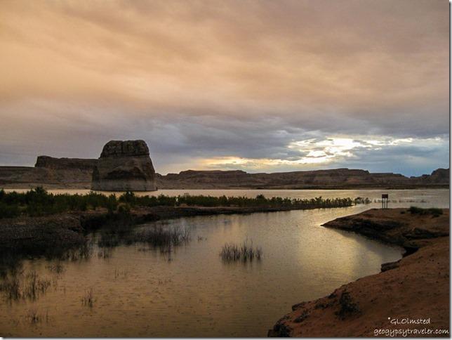 Stormy sunrise Lone Rock Lake Powell Utah