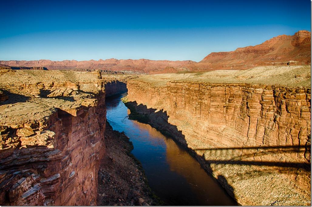 Colorado River upstream shadow Navajo bridge Marble Canyon Arizona