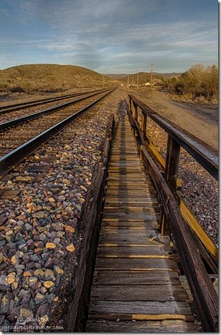 Gaelyn's shadow next to railroad tracks Kirkland Arizona