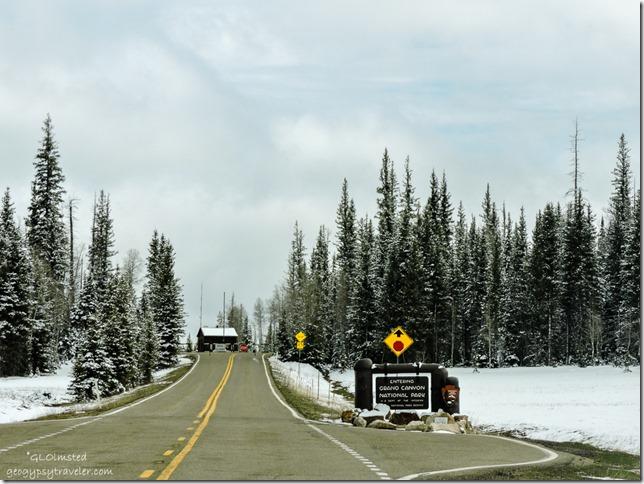 Entrance sign station snow SR67 South Kaibab NF Arizona