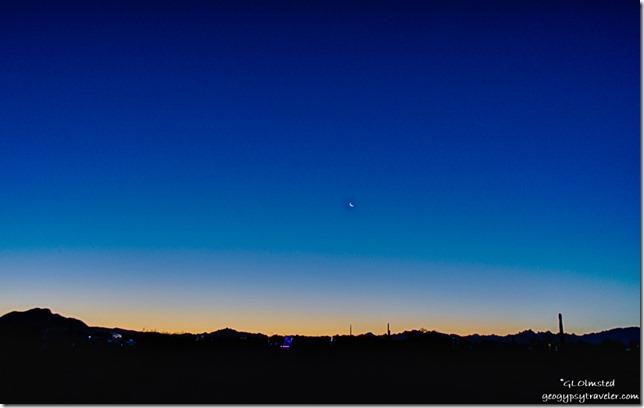 Sunrise crescent moon La Paz Valley Road Quartzsite Arizona