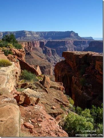 Looking up river from side canyon at Tuweep overlook North Rim Grand Canyon National Park Arizona