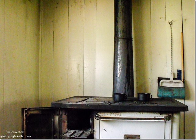 Wood cook stove inside Pleasant Valley cabin off SR67 Kaibab National Forest Arizona