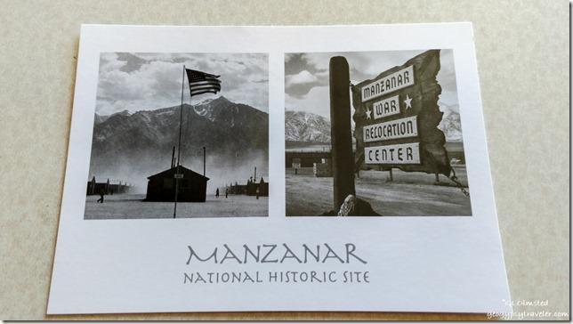 Manzanar postcard sent Ides of Trump Independence California